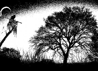black and white, night, Moon, reaper, Gothic - random desktop wallpaper