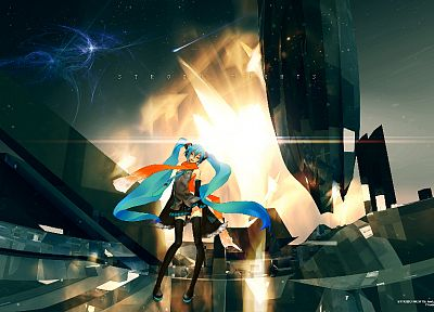 Vocaloid, Hatsune Miku, twintails, Redjuice, detached sleeves - related desktop wallpaper