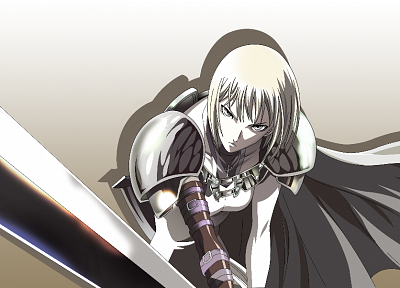 blondes, Claymore, armor, Clare, anime, capes, gray eyes, anime girls, swords - related desktop wallpaper