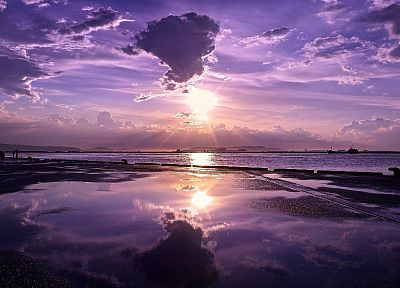 sunset, nature, skyscapes, reflections, purple sky, sea - desktop wallpaper