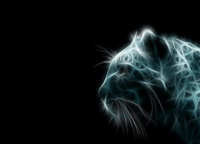 animals, tigers, Fractalius, digital art, simple background, black background - random desktop wallpaper