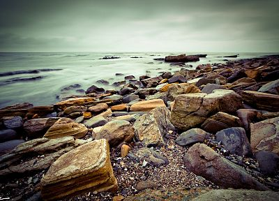 clouds, landscapes, nature, rocks, shore, oceans - related desktop wallpaper