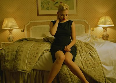 blondes, women, Scarlett Johansson, actress, black dress - desktop wallpaper