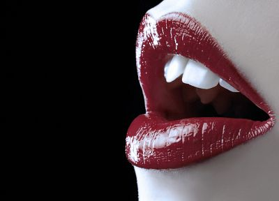 close-up, red, lips, teeth - random desktop wallpaper