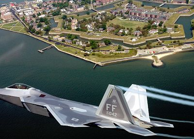 water, aircraft, F-22 Raptor, skyscapes, Fort Monroe, VA - desktop wallpaper
