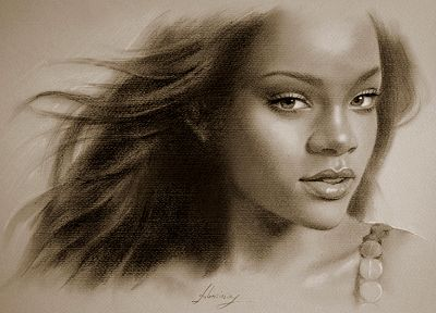 black people, Rihanna, celebrity, illustrations, singers, artwork - desktop wallpaper