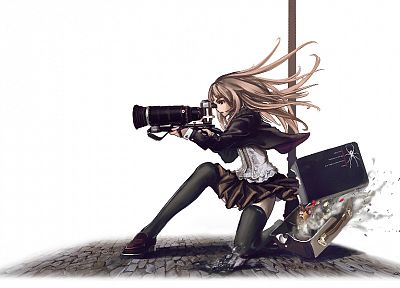 skirts, long hair, Speed Grapher, weapons, cameras, thigh highs, anime, simple background, Tennouzu Kagura - desktop wallpaper