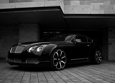 black and white, cars, monochrome, Bentley Continental GT - desktop wallpaper