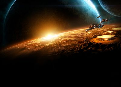 Sun, war, outer space, StarCraft, planets, spaceships, StarCraft II - related desktop wallpaper