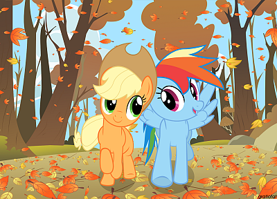 My Little Pony, Rainbow Dash, Applejack - random desktop wallpaper