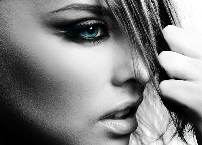women, close-up, blue eyes, selective coloring, faces - random desktop wallpaper
