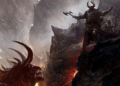 dragons, devil, Guild Wars, concept art, warriors, come at me bro - random desktop wallpaper