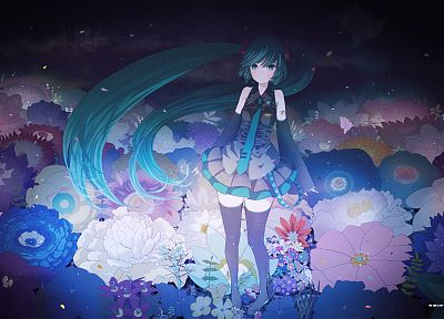 Vocaloid, flowers, Hatsune Miku, tie, skirts, long hair, artwork, flower petals, aqua hair, anime girls, detached sleeves - related desktop wallpaper