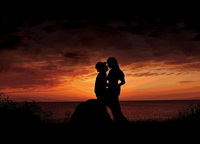 sunset, love, silhouettes - related desktop wallpaper