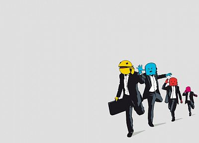 suit, chaser, business, Pac-Man - random desktop wallpaper