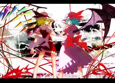 video games, Touhou, vampires, Flandre Scarlet, Remilia Scarlet, games - random desktop wallpaper