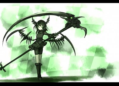 women, wings, Black Rock Shooter, scythe, Dead Master, horns, weapons, Shirogane Usagi (Artist) - related desktop wallpaper