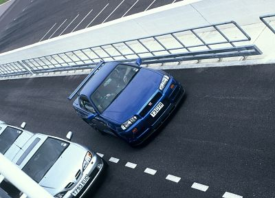 blue, cars, front, Nissan, vehicles, track, Nissan Primera, Nissan Skyline R34 GT-R, front angle view - desktop wallpaper