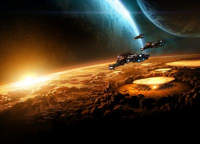 Sun, outer space, planets, spaceships, vehicles, StarCraft II - related desktop wallpaper