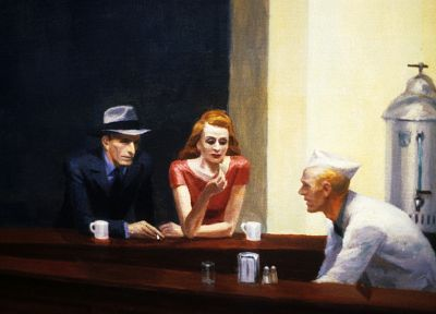 paintings, Edward Hopper, Nighthawks At The Diner - random desktop wallpaper