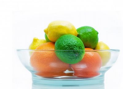 citrus, fruits, limes, oranges, bowls, lemons, white background - related desktop wallpaper
