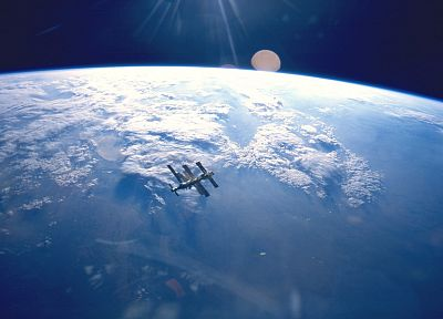 outer space, stars, ISS - desktop wallpaper
