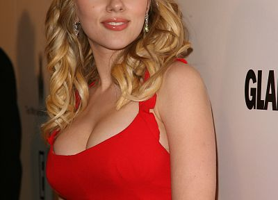 Scarlett Johansson, red dress - desktop wallpaper