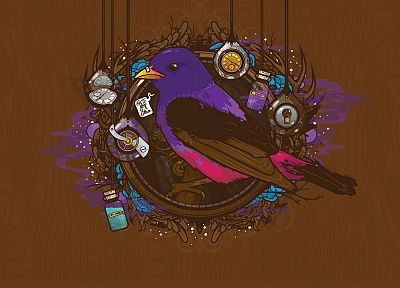 birds, bottles, clocks, artwork, wood texture, JThree Concepts, brown background, Jared Nickerson - desktop wallpaper
