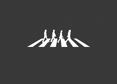 Abbey Road, minimalistic, silhouettes, The Beatles, grey background - related desktop wallpaper