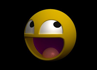 smiley, 3D renders, Awesome Face, black background - random desktop wallpaper