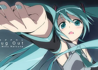 Vocaloid, Hatsune Miku, twintails, detached sleeves - desktop wallpaper