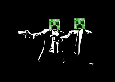 Pulp Fiction, creeper, Minecraft, suite - random desktop wallpaper