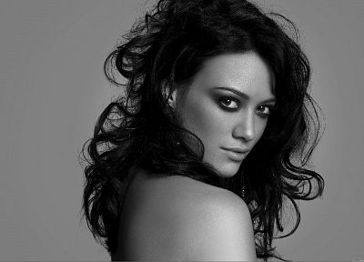 Hilary Duff, monochrome, greyscale - related desktop wallpaper