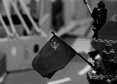 Soviet, Communist, parody, grayscale, Berlin, World War II, monochrome, Legos - related desktop wallpaper