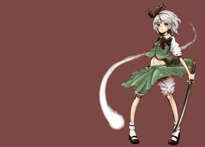 video games, Touhou, weapons, Konpaku Youmu, simple background, swords - desktop wallpaper
