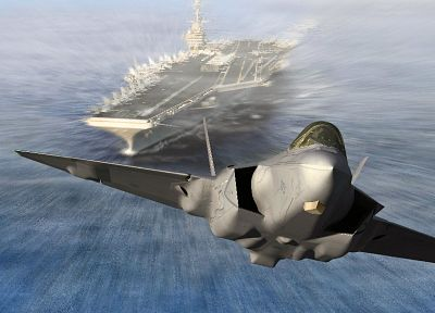 military, CGI, take off, planes, aircraft carriers, F-35 Lightning II - random desktop wallpaper