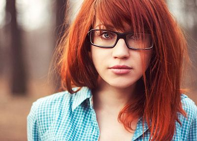 women, redheads, glasses, shirts, faces, straight hair, bangs, girls with glasses, upscaled - desktop wallpaper