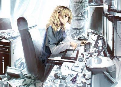 blondes, computers, indoors, room, keyboards, long hair, tables, mess, yellow eyes, messy, chairs, t-shirts, sitting, graphics tablets, soft shading, anime girls, hime cut, mp3 player, totem pole, Oekaki Musume, bangs, original characters - related desktop wallpaper