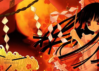 brunettes, Touhou, flowers, long hair, ribbons, Miko, red eyes, Hakurei Reimu, anime, Japanese clothes - desktop wallpaper