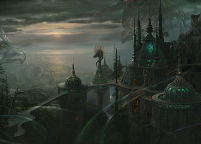 fantasy, cityscapes, dark, dragons, urban, buildings, anime, cities - related desktop wallpaper