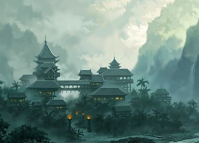 artwork, drawings, Asian architecture - desktop wallpaper