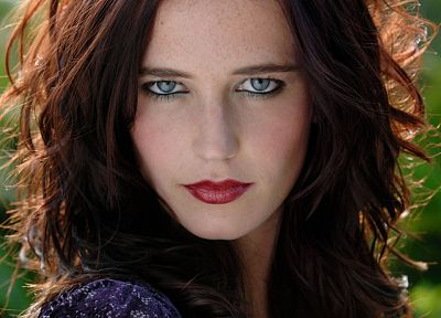 brunettes, women, actress, lips, Eva Green - related desktop wallpaper