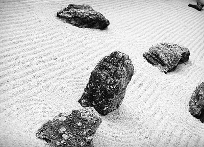 sand, stones, grayscale, monochrome, rock garden - related desktop wallpaper