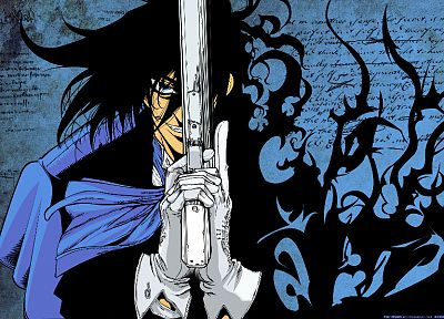 blue, guns, blue eyes, Hellsing, Alucard, anime, anime boys, white gloves - desktop wallpaper