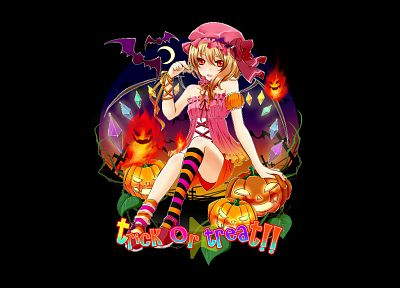 Touhou, wings, black, Halloween, Flandre Scarlet, striped legwear - random desktop wallpaper