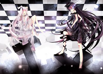 brunettes, Vocaloid, Black Rock Shooter, Hatsune Miku, long hair, alternate, twintails, white hair, crossovers - desktop wallpaper