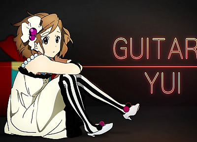 K-ON!, Hirasawa Yui, anime girls, striped legwear - random desktop wallpaper