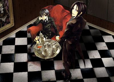 brunettes, suit, tea, Kuroshitsuji, Ciel Phantomhive, Sebastian Michaelis, anime, anime boys - related desktop wallpaper