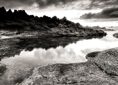 monochrome, rivers, reflections, greyscale, sea, beaches - related desktop wallpaper
