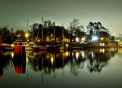 night, dock, boats, vehicles, HDR photography - desktop wallpaper